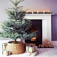 Potted mini Christmas tree near fireplace. Love this minimalist styled Christmas setup!