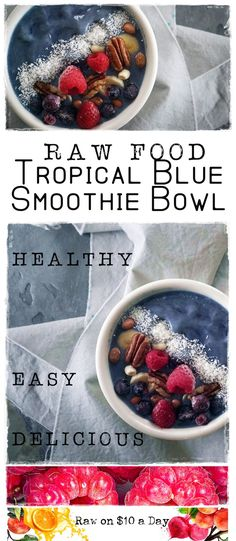 This Raw Food Tropical Blue Smoothie Bowl is beautiful. Super easy, quick to make and packed with awesome raw nutrition. Uses Butterfly Pea Flower Powder! Kiwi Smoothie, Green Smoothie Recipes, Healthy Smoothies, Raw Vegan Recipes, Dairy Free Recipes, Healthy Recipes, Healthy Tips, Easy Recipes, Gluten Free