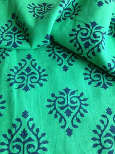 Block Print Fabric, Indian Fabric, Indian Cotton, Green and Navy print, Fabric By the Yard, Iight weight ,floral print, paisley print by FibersToFabric on Etsy