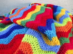 Crochet Ripple Blanket with rainbow colors