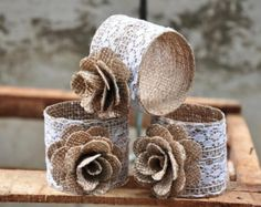 Burlap Napkin Rings with Jute Bow 1 Dozen by PremierBurlap on Etsy