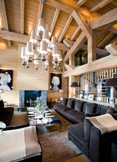 Great room - natural wood - gorgeous chandelier