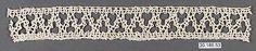 Insertion Date: 16th century Culture: Italian, Venice Medium: Bobbin lace Dimensions: L. 10 x W. 1 1/4 inches (25.4 x 3.2 cm) Classification: Textiles-Laces Credit Line: Rogers Fund, 1920 Accession Number: 20.186.53