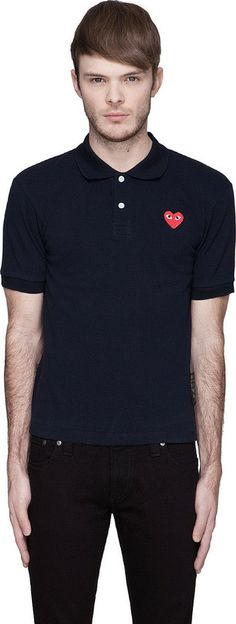 Comme des Garcons Navy Red Logo Polo on shopstyle.com