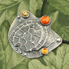 """Turtle Shell pendant - """"An Inner Life"""" - Sterling with Amber, Paua Shell, Citrine and Cast Shell - OOAK by marybird on Etsy"""