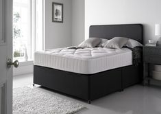 Cheltenham Upholstered Divan Bed Base and Mattress - Single Base and Mattress Only - Grey - Non Storage