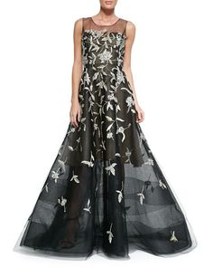 Oscar de la Renta Silver-Embroidered Evening Gown
