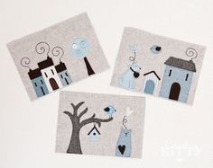 (scroll down for italian translation - Scendi piú in basso per la descrizione in italiano)    This is a set of 3 fabric pictures designed and handmade by me.  The pictures are made of a neutral grey/beige flannel background and on top I appliqued many pretty shapes (in a mix of felt, wool and cotton) that create some cute and lovely scenes.  The flannel background is interfaced on the back to give more structure and stability.  There is a polka dots lining matching the pictures on the back…