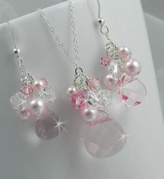 Bridal Set, Rose Swarovski Earring and Necklace Set, Crystal clear and rose swarovski crystals and pearls,Bridal, Bridesmaids