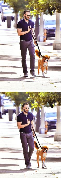 Chris Evans and Dodger   They're both super cute <3<3<3 -B.R.