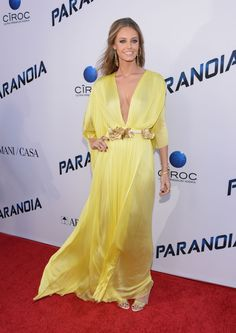 Maria Lucia Hohan gown, JustFab sandals, and jewels by: Isharya, Karine Sultan & Antonini. Isharya, Marzano, Celebrity Style, Cool Outfits, Gowns, Nice Clothes, Jewels, Sandals, Yellow