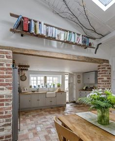 Love this bookshelf made from an old ladder! See more great interior styling ideas in this Suffolk cottage, owned by artist Lucy Dawson,… Country House Interior, Home, Rustic Home Interiors, Rustic Cottage Interiors, House Interior, Home Renovation, Cottage Interiors, Farmhouse Style House, Rustic House