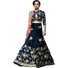 Designer Blue Satin Banglory  Lehenga-Choli With Satin Banglory Blouse Fabric