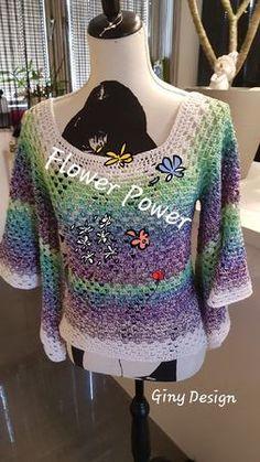 Raglan Pullover aus Verlaufsgarn, an alle Größen leicht anpassbar! Flower Power, Raglan Pullover, Sweaters, Design, Fashion, Fashion Styles, Tops, Handarbeit, Women's