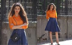 Vintage Skirt, Vintage Shirt, Rosegal Crossbody Bag styled by Simona VintageLook in Denim Vintage Skirt, Skater Skirt, Orange, Denim, My Style, Skirts, Fashion, Women's Clothes, Women's Work Fashion