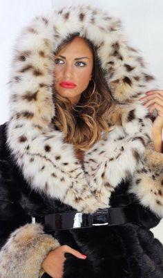 lynx hooded black mink coat elsafur