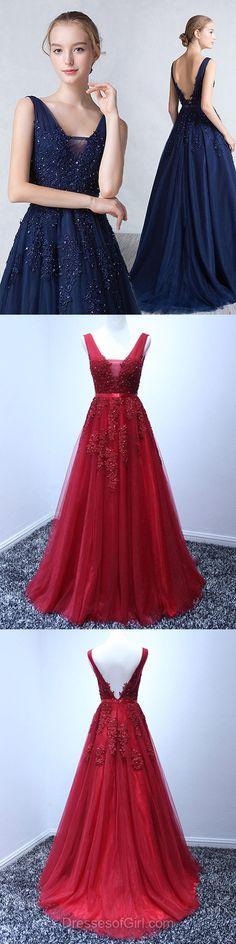V Neck Prom Dress, Princess Prom Dresses, Tulle Evening Dresses, Red Party Dresses, Backless Formal Dresses