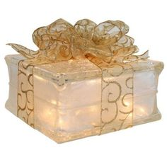 Lighted Glass Block with Sheer Gold Ribbon:Amazon:Home Improvement