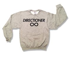 "#DIRECTIONER #1DIRECTION #1D #1DMEMORIES #KissYou #ONEDIRECTION #HARRY #LIAM #NIALL #ZAYNE #LOUIS #NiallHoran #ZaynMalik #LiamPayne #HarryStyles #LouisTomlinson   One Direction ""Directioner"" Sweatshirt - Gray - All Sizes Available - 1D Sweater. $23.45, via Etsy."