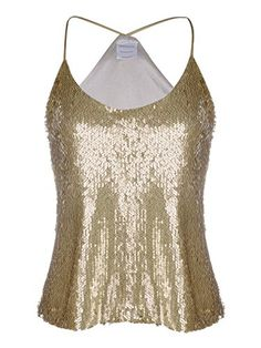 AnnaKaci Womens Shimmer All Over Sequin Sparkle Spaghetti Strap Vest Tank Top -- To view further for this item, visit the image link.(This is an Amazon affiliate link and I receive a commission for the sales)