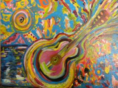 Formas de Guitarra. Acrílico sobre lienzo (serie Música)