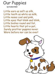 DLTK's Crafts for Kids ~ Our Puppies Poem Poster or color page (similies lesson)