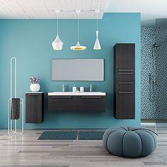 composizione bagno sospesa salchow con mobile doppio lavabo e ... - Bagni Moderni Con Doppio Lavabo