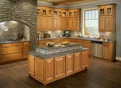 Image result for pictures of honey oak cabinets with gray floors
