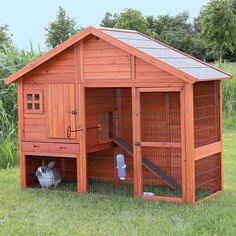 "59.25"";L X 42"";W X 31.5"";H Glazed pinewood rabbit home with second story hutch, full attic with hatched gable and lower run. Wood paneled back protects from wind. Pull out plastic tub, tall door, hutch door and run door with locks."