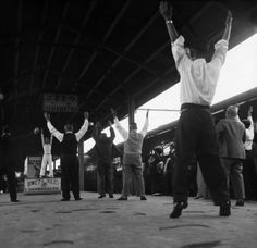 Werner Bischof :: Exercise for passengers on a train between Kyoto and Tokyo, Japan, 1951