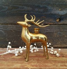 Vintage Brass Deer Reindeer Candlestick Holder Fall von BrassAttics