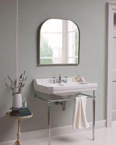 Burlington Curved Mirror With Chrome Frame Cottage Style Bathrooms, Guest Bathrooms, Family Bathroom, Bathroom Basin, Bathroom Toilets, White Bathroom, Washroom, Victorian Bathroom Mirrors, Edwardian Bathroom