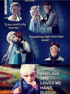 Jack and Elsa. I ship jelsa but that top comic is an interesting idea. the next person to try and ships elsa and hans. Jelsa, Disney And Dreamworks, Disney Pixar, Walt Disney, Bd Cool, Hans Frozen, Disney Ships, Jack Frost And Elsa, Disney Couples