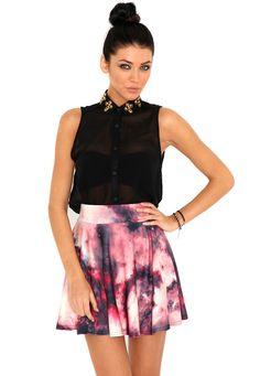 Porcha Galaxy Mini Skater Skirt In Pink  #MGwinterwardrobe