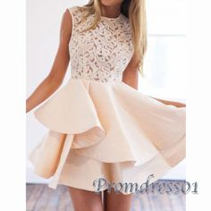 2016 cute ivory lace satin short prom dress, homecoming dress, maxi dress for…
