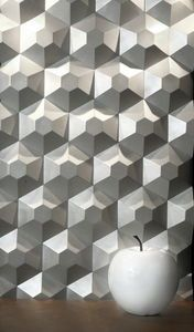 wall-mounted decorative panel / for interior fittings / leather / 3D