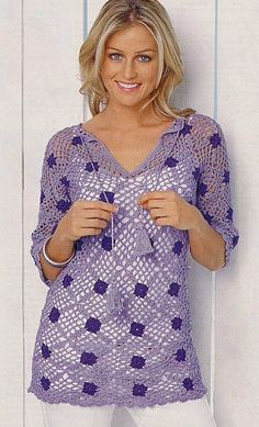 Purple Top with Square Motifs free crochet graph pattern