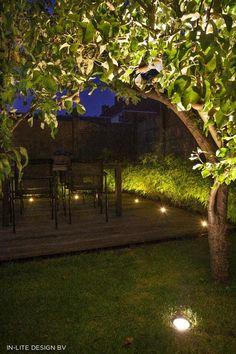 Well and deck lighting from in-lite outdoor lighting! Deck Lighting, Tree Lighting, Garden Architecture, Backyard, Patio, Private Garden, Small Gardens, Beautiful Gardens, Sidewalk