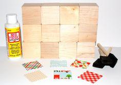 Baby Shower Activity  DIY Block Kit  Farm Theme  by Booksonblocks