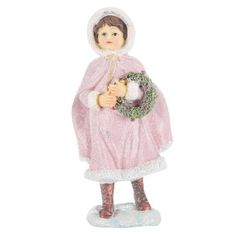 Pink Girl Figurine with Wreath