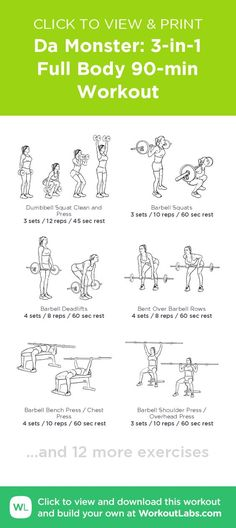 Da Monster: 3-in-1 Full Body 90-min Workout – click to view and print this illustrated exercise plan created with #WorkoutLabsFit