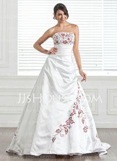 Wedding Dresses - $216.99 - A-Line/Princess Strapless Chapel Train Satin Wedding Dress With Embroidery Beadwork (002005282) http://jjshouse.com/A-Line-Princess-Strapless-Chapel-Train-Satin-Wedding-Dress-With-Embroidery-Beadwork-002005282-g5282