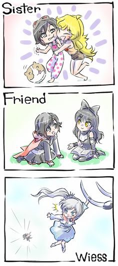 Relationships in RWBY. Season 1. Ruby and Yang. Ruby and Weiss. Ruby and Blake