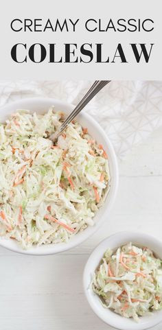 CLASSIC CREAMY COLESLAW - Bit & Bauble This is the very best classic coleslaw recipe. The light and creamy slaw is the perfect side dish for summery cookout foods like hamburgers, hotdogs, barbecue chicken and pulled pork. Classic Coleslaw Recipe, Coleslaw Recipe Easy, Healthy Coleslaw, Coleslaw For Pulled Pork, Pulled Pork Recipes, Pulled Pork Sides Dishes, Sides With Pulled Pork, Sauces, Barbecue