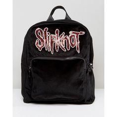 Sacred Hawk Slipknot Black Backpack (€32) ❤ liked on Polyvore featuring bags, backpacks, black, logo backpacks, daypack bag, top handle bags, floral print backpack and floral backpack