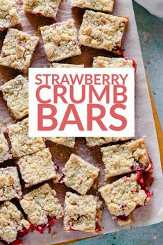 Strawberry Crumb Bars. These buttery, melt-in-your-mouth strawberry bars are scented with lemon, filled with strawberries with a subtle hint of coriander, and topped with big, buttery, lemon-scented crumbs. Simple and delicious!