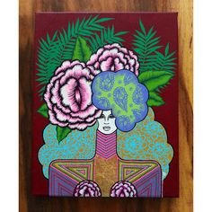 """""""Faizah"""" 2014 Original painting by Michelle Robinson Original acrylic & gold leaf on canvas Avail. for purchase at www.create-ture.com"""