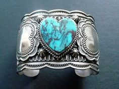 Navajo ANDERSON CADMAN Vintage Carved and Stamped Turquoise Cuff Circa 1980s.