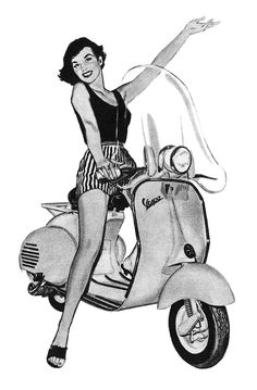 The Vespa synonymous with glamour. 3 of them take centre stage in The Elixier of Love (February Detail from a 1956 Vespa ad Vespa Ape, Piaggio Vespa, Lambretta Scooter, Scooter Motorcycle, Vespa Scooters, Vintage Vespa, Vintage Ads, Vespa Girl, Scooter Girl