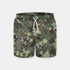 Jigsaw Puzzle Pieces Camo WOODLAND GREEN Swim Shorts, Live Heroes